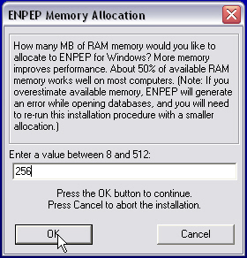 RAM Allocation during ENPEP Installation